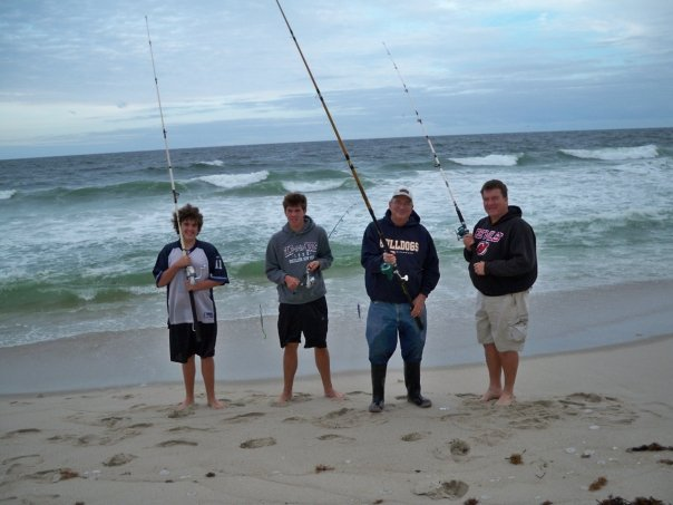My Boys, Grandpa and I Fishing at the Beach