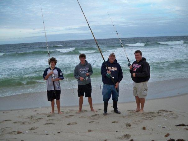 My Boys, Grandpa and I Fishing at the Beach