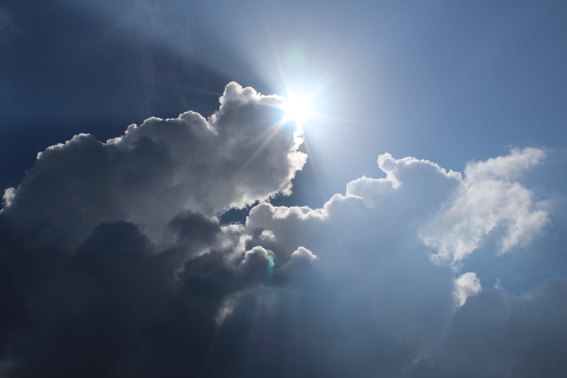 atmosphere blue bright clouds
